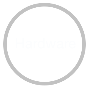 A circle with a gray stroke, green background with the word hardware inside