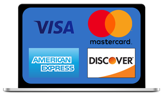 image of laptop computer with Visa, Mastercard, American Express, and Discover logos displayed